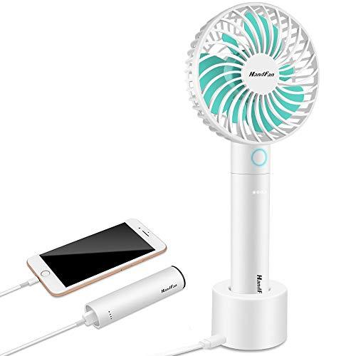 BIAOZH Ventilador pequeño de mano de moda, pequeño ventilador de refrigeración USB, recargable, ventilador eléctrico portátil con pulverizador de agua para viajes/acampadas/al aire libre (azul)