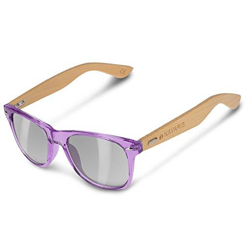 Navaris Gafas de sol UV400 - Gafas de madera para hombre y mujer - Gafas de sol con patillas de madera - Violeta y gris