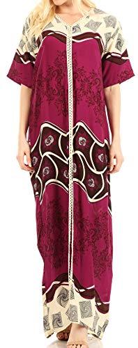 Sakkas 18211 - Sabra Womens Long Casual Cover-up Tunic Kaftan V Neck Dress - Fuchsia - XXL
