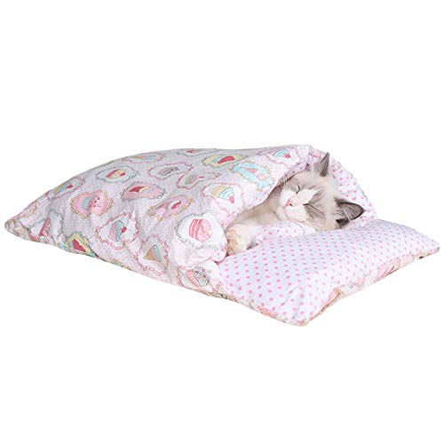 Longing Cat Sleeping Bed - Cuddle Cat Cave Bed for Indoor Cats & Small Dogs, Super Warm Pet Cave Cat Bag with a Pillow - Ultra Soft & Comfort