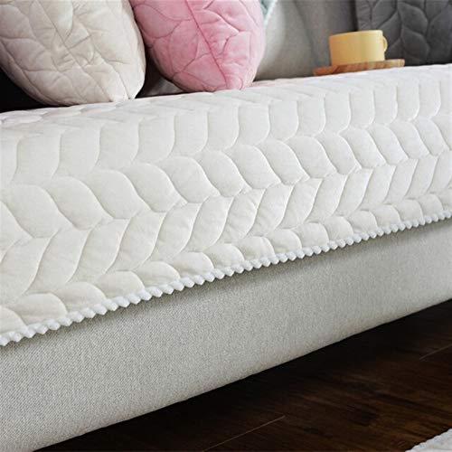 Housse de Canapé Tissu Épaissir en peluche Sofa dentelle antidérapante Housse Siège Couch Couverture Sofa Serviette for Living Room Decor (Color : White, Specification : 70x70cm)