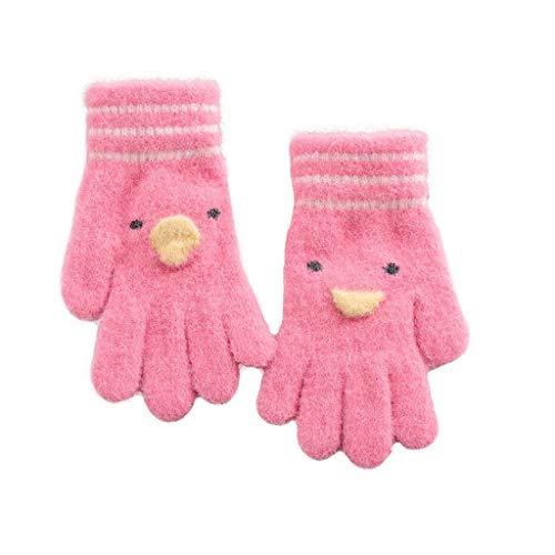 ZXC Home Handschuhe im Freien warmen starken Baumwolle Wolle-Material Nette Karikatur-Kinder Winter Windundurchlässig Handschuhe, Rot