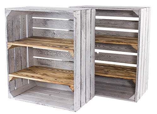 Vintage Möbel 24 GmbH Elegante Große Holzkisten/Obstkiste mit Zwei Regalböden für einzigartige Kistenmöbel und Regalsysteme, neu, DIY, 50x31x61cm (2X GrauVintage_Geflammt)
