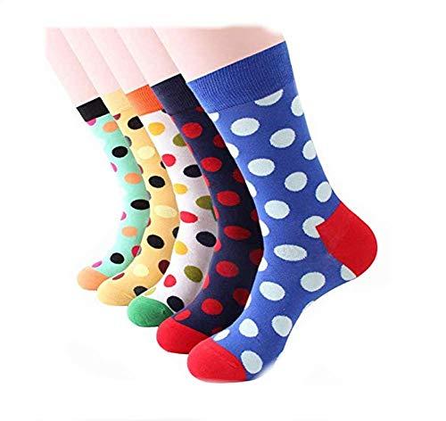 Dusenly 5 pares de calcetines para hombre de algodón peinado,  divertidos y informales,  calcetines redondos para hombres,  regalos novedosos lunares Talla única