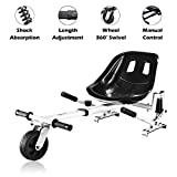 Hoverboard Seat Attachment for Self Balancing Scooter Go Kart Hover Board Accessories Compatible with 6'' 8.5'' 10'' for All Ages Adjustable Frame Length, White