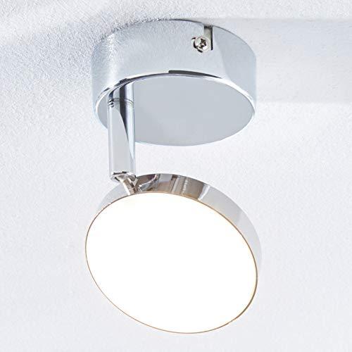 Lampenwelt LED Deckenlampe 'Keylan' (Modern) in Chrom aus Metall u.a. für Wohnzimmer & Esszimmer (1 flammig, A+, inkl. Leuchtmittel) - Deckenleuchte, Wandleuchte, Strahler, Spot, Lampe