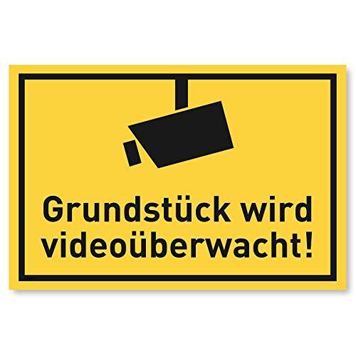 Achtung Videoüberwachung Schild (30x20 cm Kunststoff) - Warnschilder und Hinweisschilder - Grundstück Wird Videoüberwacht Schilder (Gelb)
