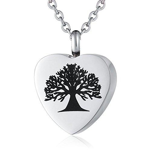 ANAZOZ Edelstahl Haustier Verlust Memorial Gravur Halskette Anhänger Feuerbestattung Keepsake Für Big Tree Herzen Silber