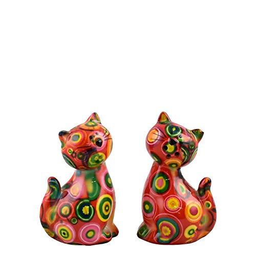 Pomme Pidou   Salz- und Pfefferstreuer Keramik   Katze Caramel   Small   Rot   Keramik Streuerset und 2 sehr schöne Dekorationsstücke   inkl. GRATIS Geschenkbox