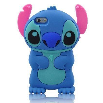 iPhone 6 Plus 6S Plus Argument, Anya 3D netter Bogen-Superheld-Serie Art-Karikatur-Leder Hülle Shell-Hülle für Apple Iphone 6 6S plus 5,5-Zoll Lilo Stitch-beweglicher Ohr-Schlag Blau