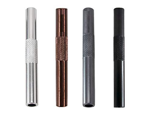 M&M Smartek - Set di 4 tubi in alluminio, per il tuo tabacco da fiuto, cannuccia, snuff, dispenser per snorter, smoke pipe, lunghezza 70 mm, 4 colori