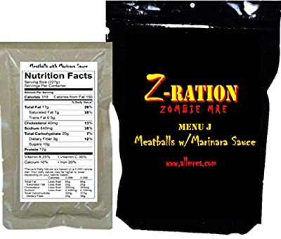 MRE Z-Ration (Zombie MRE) Custom Meals Ready to Eat! (MENU J - Meatballs with Marinara Sauce)