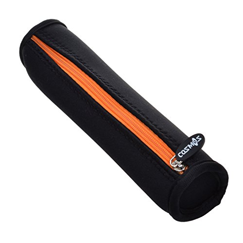 Cosmos Black Color with Orange Zipper Neoprene Stylus Pen Case Holder Pencil Bag Pouch