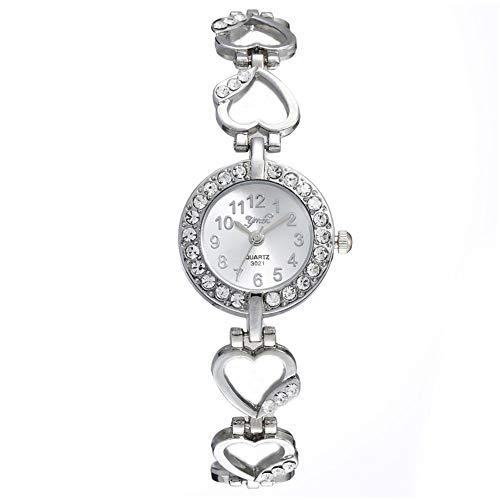 Orologio da donna al quarzo, alla moda, con quadrante rotondo e strass, in lega, a forma di cuore, analogico, al quarzo