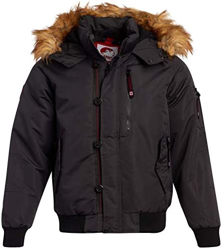 CANADA WEATHER GEAR Mens Winter Coats Heavyweight Bomber Parka Jacket with Faux Fur Hood Charcoal product image