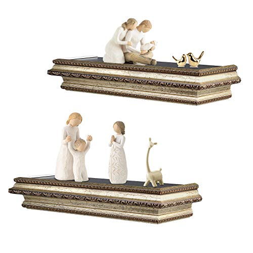 Floating Shelves Rustic Wood Decorative Shelf for Wall Bedroom Decor, Wall Mount Display Rack for Bathroom, Living Room, Kitchen, Office and More,Set of 2