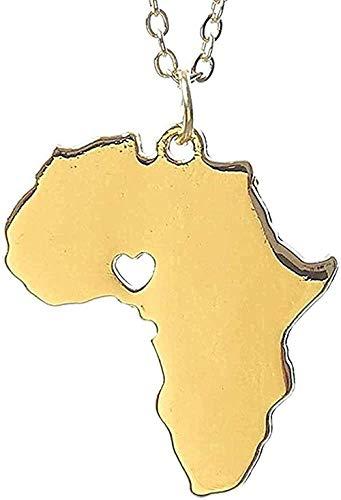 Collar África Collar Wanderlust Stocking Stuffer Elder Misionero Mapa Collares y colgantes Gargantilla de oro Collar Mujeres Plomo para mujeres Hombres Regalos Collar colgante Regalo para mujeres homb