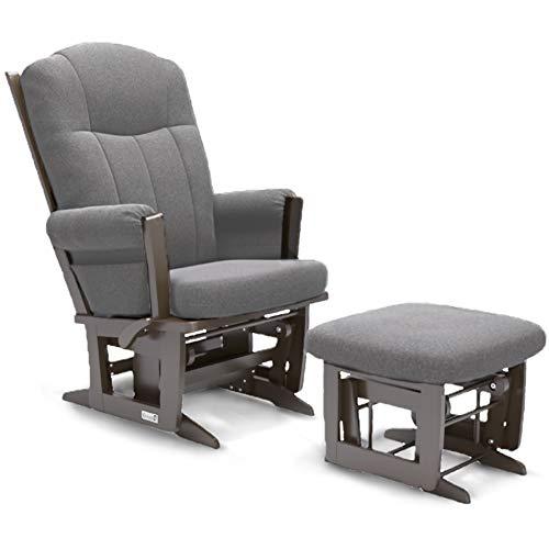 Dutailier Erie Technogel Glider Chair with Ottoman (Espresso/Charcoal)