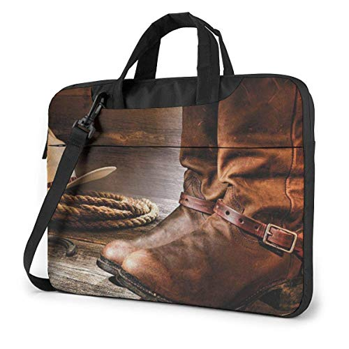 XCNGG Shockproof Laptop Bag Western Boot Computer Bag Unisex Durable Case Sleeve 360 Cushion Protective Laptop Briefcase