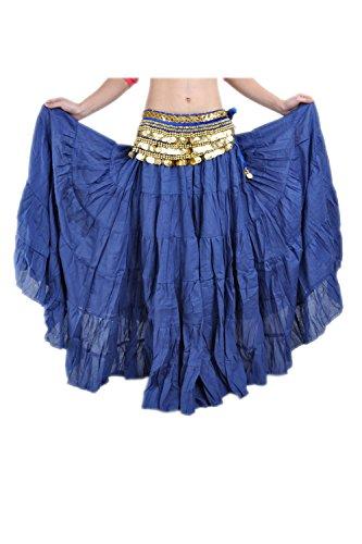 Suvimuga La Mujer Tribal Belly Danza Gitana Flowy Boho Maxi Falda Larga Darkblue One Size