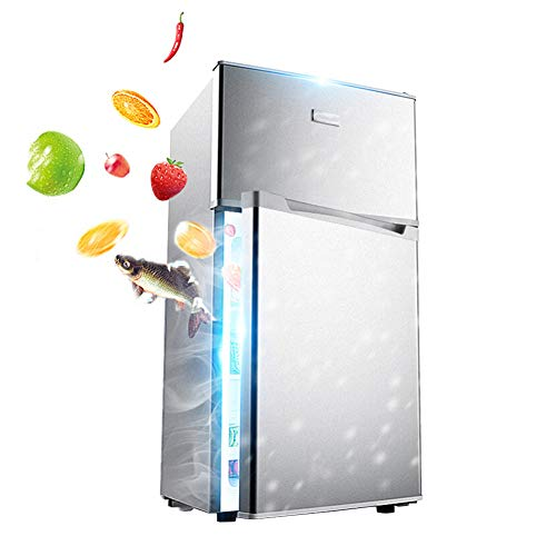 Fridge Large Capacity Refrigerator 118L Freestanding Adjustable Temperature Double Door Freezer Low Noise Refrigerator With Compressor With Fruit Vegetable Box