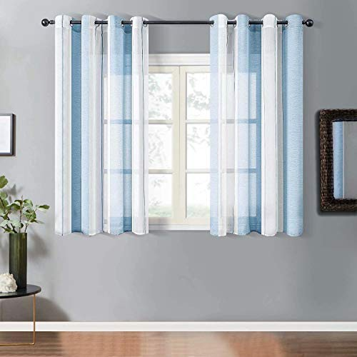 YEENUEER 2er Set Gardinen mit Ösen Streifen Gardine aus Voile mit Ösen Schlaufenschal Ösenschals Halbtransparent Kurz Gardinen Fensterschal Wohnzimmer Schlafzimmer 2er Set 140x145 cm, Blau