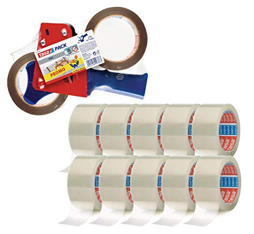 tesa Paketklebeband (66 m x 50 mm) transparent (10 Rollen + Handabroller-Set)