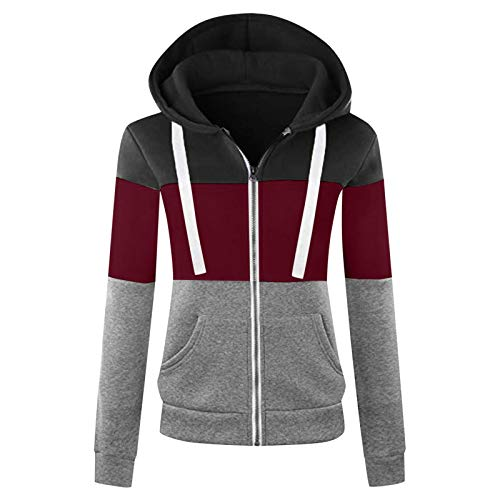 Linkay Frauen Sport Langarm Farbe Kontrast Patchwork Reißverschluss Kapuze Tasche Jacke Top Coat Sweatshirt Kordelzug Kapuzenbluse (C-Wein, XL
