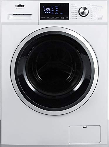 Summit Appliance SPWD2202W 24' Wide 115V Washer/Dryer Combo in White for Non-Vented Use, 2.7 Cu.Ft. Capacity, LCD Display, 16 Wash Cycles, 1300 RPM, Stainless Steel Drum, Child Lock