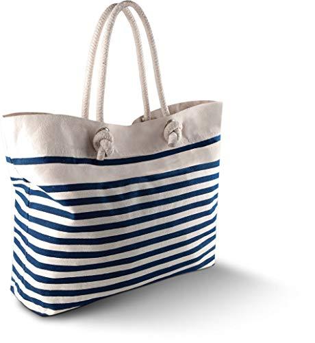 Strandtasche - Farbe: Natural/Navy - Größe: 42 x 36 x 13 cm