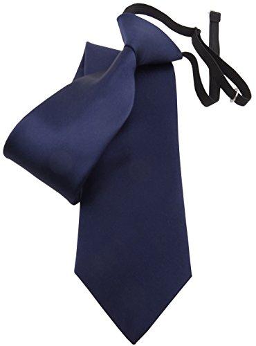 TigerTie Security Satin Seidenkrawatte blau dunkelblau uni Gummizug - Krawatte Seide