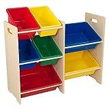 KidKraft 15470 Estantería infantil Sort It and Store It con 7 contenedores para almacenaje, muebles para salas de juego y dormitorio de niños - Primario y natural