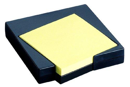 HAN 1742-13 Haftnotiz-Pult Scala 100 x 20 x 110 mm, Schwarz, Gefuellt Mit 100 Blatt, 76 x 76 mm (Haftnotizen), Gelb