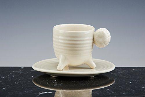 OSKAR KOGOJ NATURE DESIGN 'Tasse Rudraksha-Kaffee, Porzellan weiß emailliert. Set von 2Tassen mit Teller. Handgefertigt. Tassen-Design.