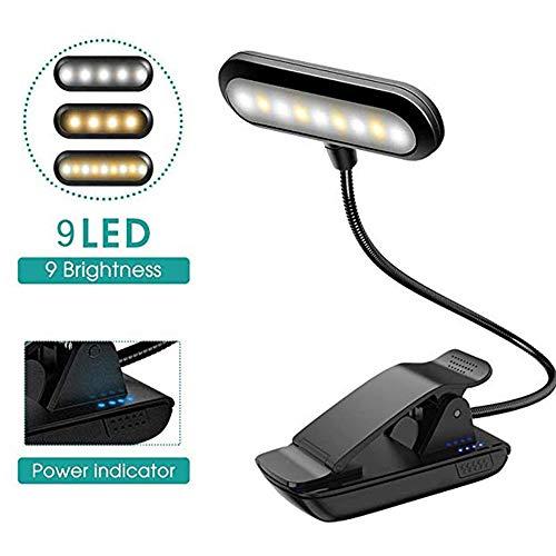 Klemmlampe Stehen Musik-Licht mit USB aufladbare, 9 LED, 9 Helligkeitsmodi, Clip-On-Bett-Lesebuch Lampe, Ideal für Klavier-Spieler, Kinder, Reisen