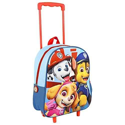 Paw Patrol Rucksack mit Rädern für Kinder, Schulrucksack Mit Rollen, Handgepäck Mädchen Jungen Koffer, 3D Design, Geschenk für Kinder!