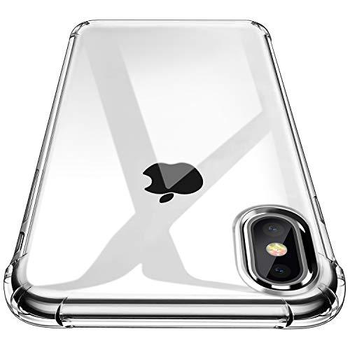 Garegce Coque iPhone XS, Coque iPhone X - Souple Clair TPU Silicone,Housse Bumper, [Cadeau Ecran en Verre Protecteur][Shock-Absorption] Anti-dérapante Cover pour iPhone XS,X - Transparent