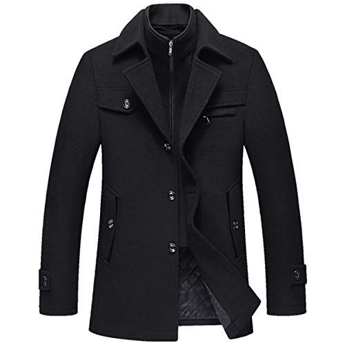 Allthemen Wintermantel Kurzmantel Herren Schwarz Wollmantel Stehkragen Herren Winter Mantel Warm Kurz Slim Fit Winterjacke Business (M, Schwarz(gestepptes Innenfutter)