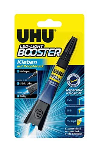 UHU LED-Light Booster, Kleben auf Knopfdruck - lichtaktivierter Reparatur-Klebstoff, 3 g