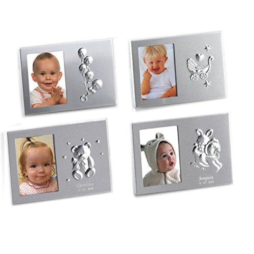 Portafoto de bebe para bautizo de PERSONALIZADO con nombre y fecha. Pack de 8 unidades