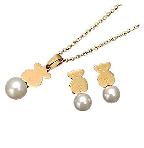 HFJ&YIE&H Joyas 1 Collar 1 Par de Pendientes Perla Diario Perla 1 Set Mujer, Gold