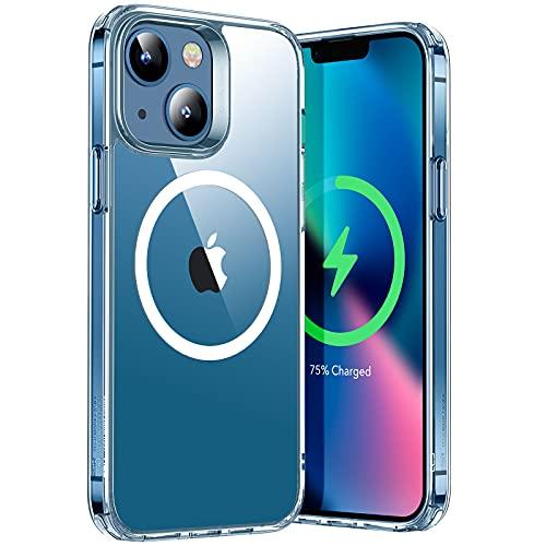 ESR Hybrid Hülle mit HaloLock Kompatibel mit iPhone 13, Magnetisches Kabelloses Laden, Verstärkter Sturzschutz, Kratzresistente Rückseite, Klar