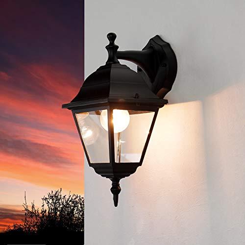 lampada da parete rustica da esterno nero E27 fino a 60W 230V lampada da parete IP44 lampada da esterno nostalgico down lamp lampada da giardino lampada da cantiere illuminazione lanterna lanterna