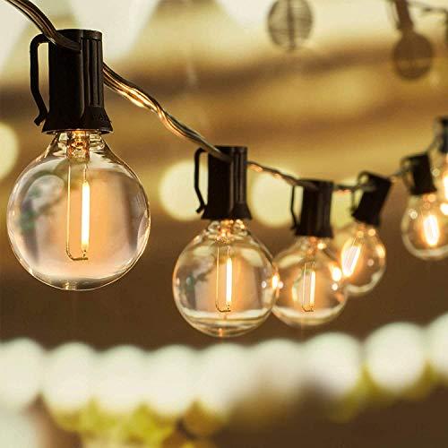 WOWDSGN 30+6 Stk. G40 Glühbirnen Lichterkette Außen, LED Glühlampen Lichterkette für Innen und Außen, Strombetrieben, Wasserdicht, keine Kitze, ideal für Weihnachtsdeko, Hochzeit, Party usw.