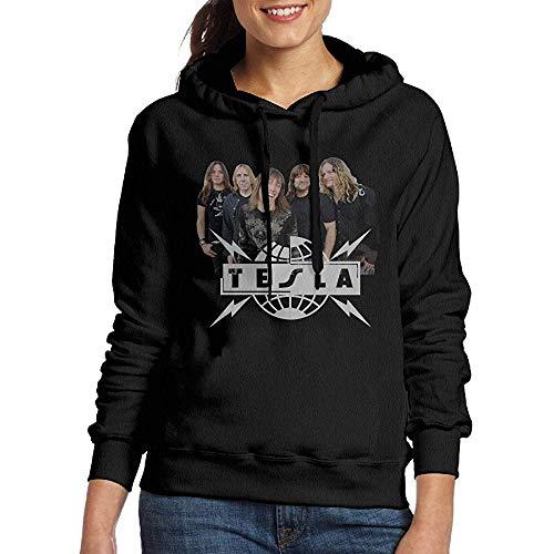 Ulysses Womens Tesla Band Casual Black Pullover Hoodie Sweatshirt-M