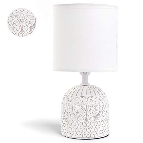 Aigostar - Lámpara de mesa, cuerpo color blanco con grabado de mariposas, pantalla de tela color blanco, Lámpara de cerámica E14. Lampara mesita noche, perfecta para el salón, dormitorio, H26cm