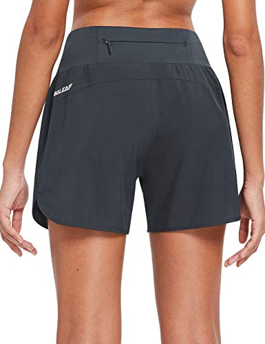 BALEAF Womens 5 Inches Knit Waistband Running Shorts with Liner Quick Dry Lounge Gym Walking Lined Shorts Back Zipper Pocket Grey Size M