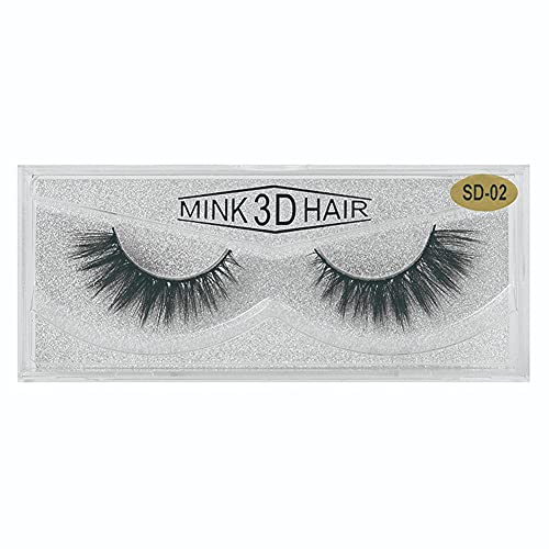 Sanfiyya Eyelashes Artificiales Europeos y Americanos Pestañas de visón 3D Pestañas Gruesas Naturales de alargamiento 1PAIR (SD02)