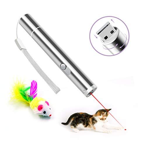 NINECY LED Pointer für Katzen, 3-in-1 Chaser Spielzeug USB wiederaufladbar interaktive Spielzeug mit Einer Spielzeugmaus