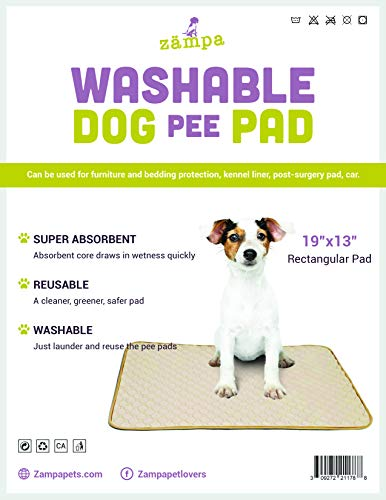 Zampa Pets Quality Whelp Round, Rectangular Shape Reusable Dog Pee Pads/Quilted, Fast Absorbing Dog Whelping Pad/Waterproof Puppy Training Mats/Machine Washable, Great for Playpen